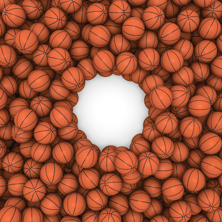 basketballs: Basketballs frame  3D render of hundreds of basketballs framing copy space