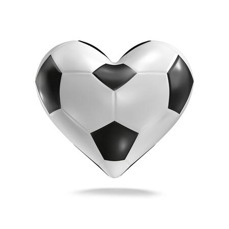 fandom: Soccer ball heart  3D render of heart shaped soccer ball Stock Photo