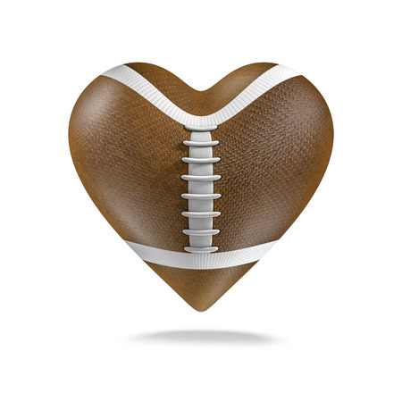 American football heart  3D render of heart shaped American football