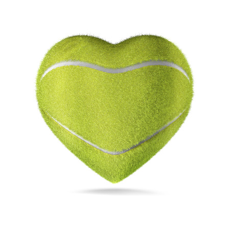 Tennis ball heart  3D render of heart shaped tennis ball Stock Photo