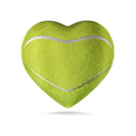 fandom: Tennis ball heart  3D render of heart shaped tennis ball Stock Photo