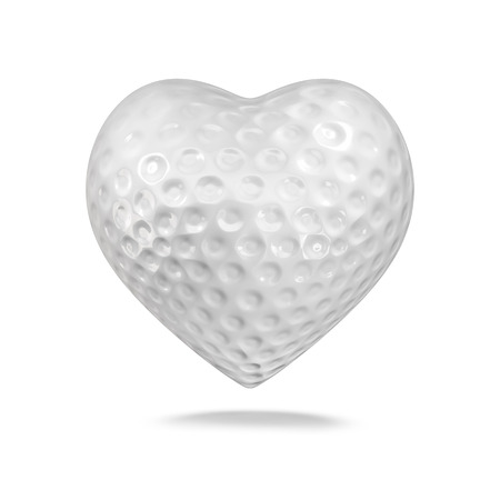 Golf ball heart  3D render of heart shaped golf ball