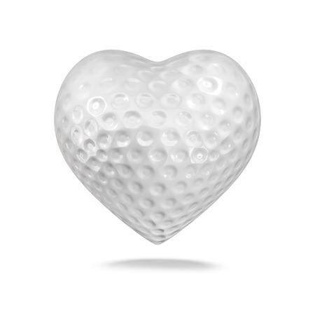 Palla da golf cuore 3D rendering di cuore a forma di pallina da golf