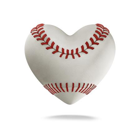 ハート形の野球の野球の心 3 D レンダリング 写真素材