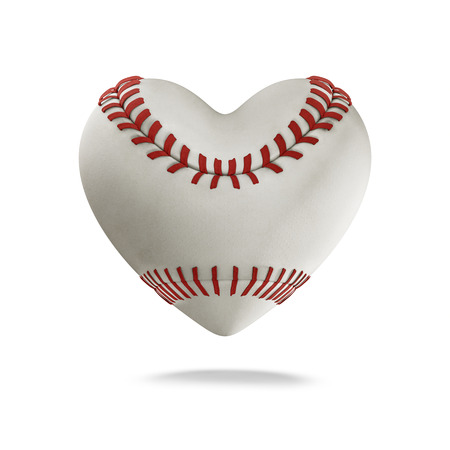 heart white: Baseball heart  3D render of heart shaped baseball