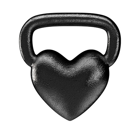 salud y deporte: kettlebell coraz�n del metal 3D render de pesas rusas en forma de coraz�n en un pu�o