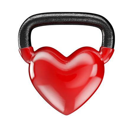Kettlebell heart vinyl  3D render of heavy heart shaped kettlebell