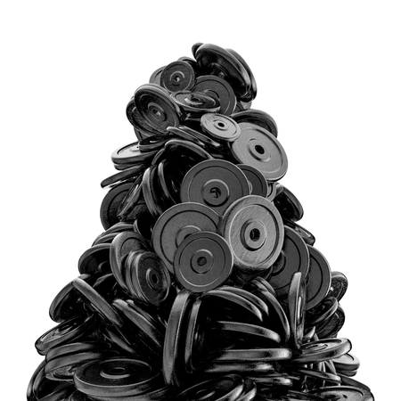 Weight plates peak  3D render of piled heavy weight plates Stockfoto