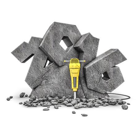 presslufthammer: Stein geschnitzt 2016 3D mit Bohrhammer des Jahres 2016, geschnitten aus Steinblock machen