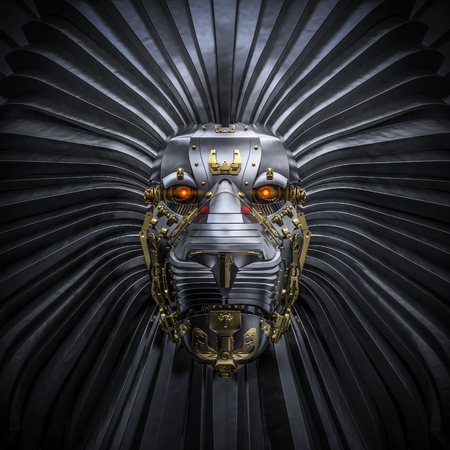 Hear Me Roar 3D render van metalen robot leeuw