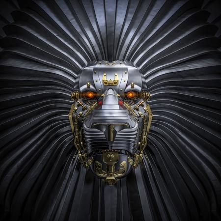 Hear Me Roar rendu 3D du métal robot de lion Banque d'images