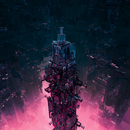 Szkło technocore miasta 3D renderowania z futurystycznej konstrukcji science fiction