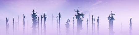 パノラマ技術市未来の科学小説構造の 3 D のレンダリング 写真素材