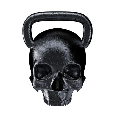 Kettlebell 두개골 금속 3D 렌더링 무거운 두개골 모양 kettlebell 스톡 콘텐츠