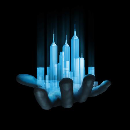 Virtual reality stad 3D render van miniatuur holografische stad in menselijke hand