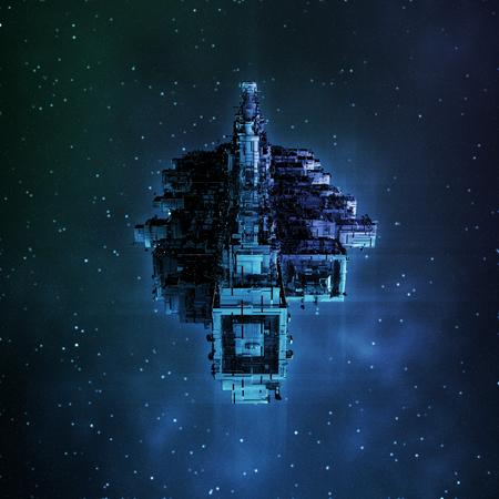 Leviathan  3D render of large spaceship Archivio Fotografico