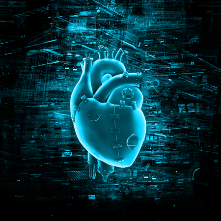 가상 현실의 마음은 가상 데이터에 둘러싸여 기계 심장의 3D 렌더링 스톡 콘텐츠