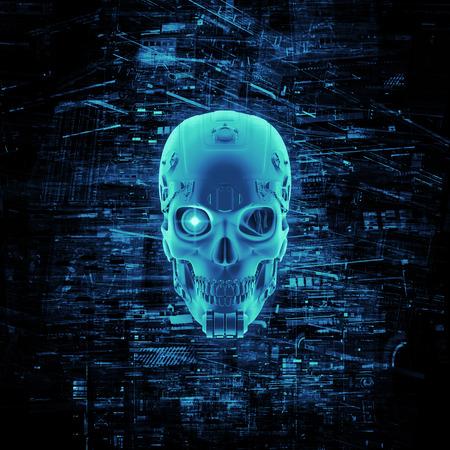 仮想データに囲まれたサイボーグ ヘッドの仮想現実頭蓋骨 3 D レンダリング