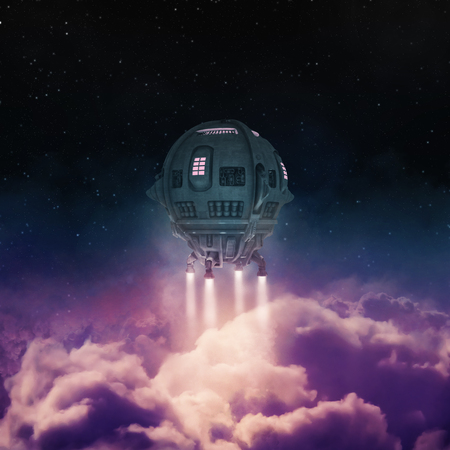 Out of the atmosphere 3D render of spaceship rising above clouds