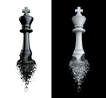 despedida: Adi�s al rey  3D rinden de rey de ajedrez romperse, aislado en blanco y negro