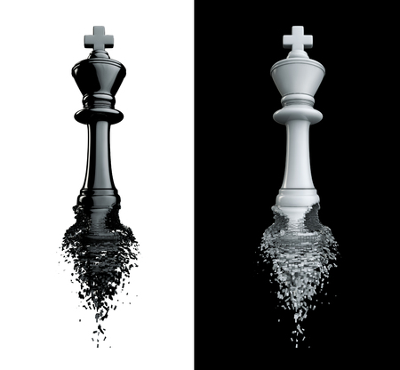 failed strategy: Farewell to the king  3D render of chess king breaking apart, isolated on black and white Stock Photo
