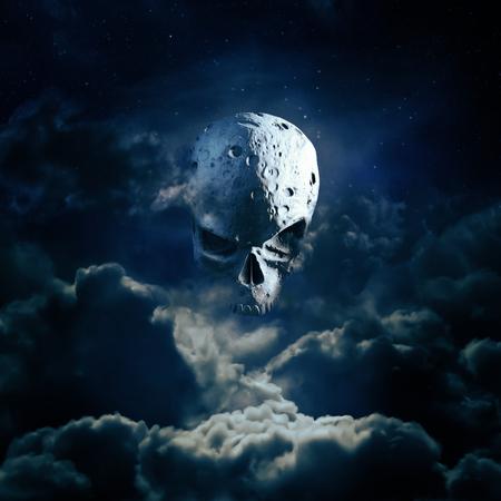 사신 달 상승  밤 하늘에서 cratered 두개골 달의 3D 렌더링