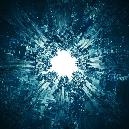 The technocore nucleus  3D render of futuristic science fiction structure