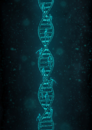 dna double helix: Pinnacle of the species  3D render of male figures rushing up dna double helix structure Stock Photo
