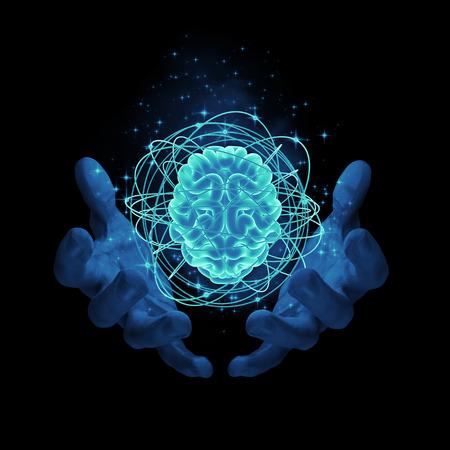 Magie auf das Gehirn / 3D-Darstellung von leuchtenden Atom-Gehirn Standard-Bild