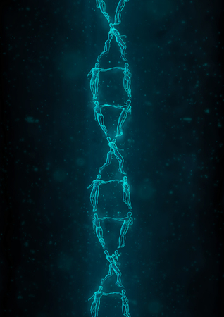 sex chromosomes: The DNA romance  3D illustration of male and female figures forming DNA double helix structure Stock Photo