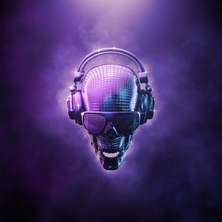 cráneo bola de discoteca ilustración / 3D del cráneo en forma de bola de espejos disco con auriculares y gafas de sombra Foto de archivo