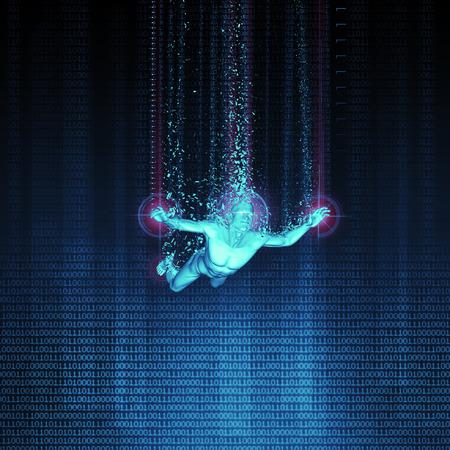 La realidad virtual de inmersión ilustración / 3D del hombre entrar en la realidad virtual