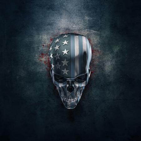 アメリカの国旗の部分から形成された金属3 D 図で汚れた金属の頭蓋骨のアメリカのホラー