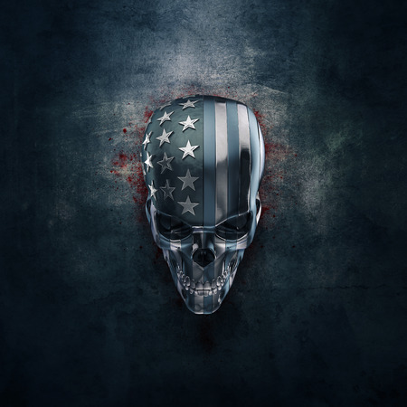 black american: American horror in metal  3D illustration of grungy metal skull formed from pieces of USA flag