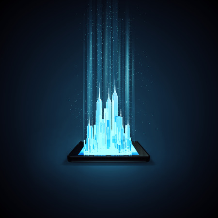 Virtual city tablet  3D illustration of glowing metropolis rising out of tablet computer screen Stock Photo