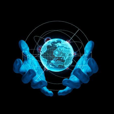 La realidad virtual ilustración Tierra / 3D de manos sosteniendo delicadamente representación virtual del planeta Tierra