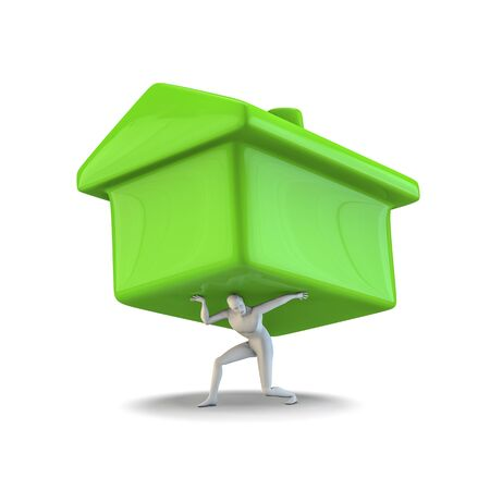 toy house: House as a burden  3D illustration of male figure carrying large toy house