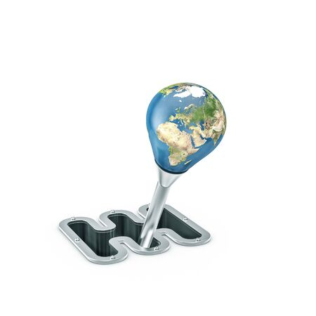 Gear shift Earth  3D illustration of planet Earth as gear stick handle