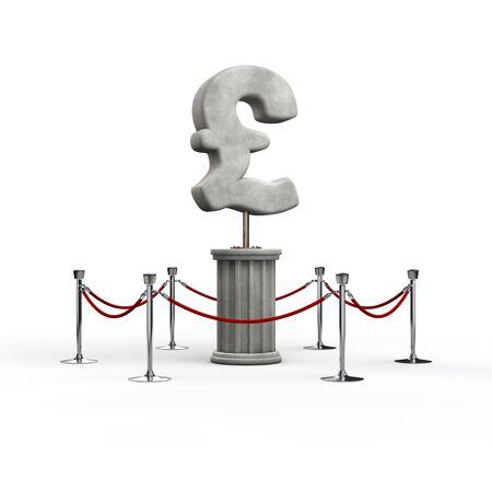 exhibit: The pound exhibit  3D illustration of pound symbol sculpture