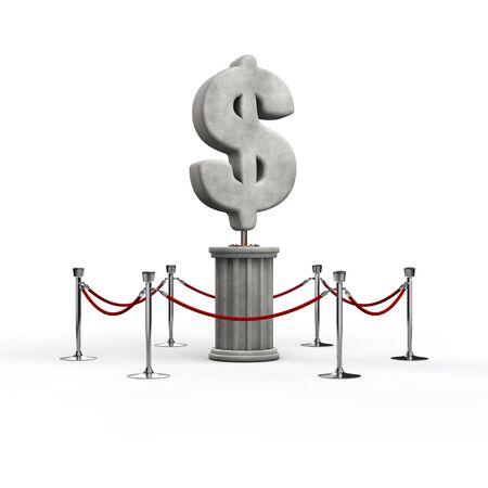 Der Dollar Ausstellung / 3D-Darstellung von Dollar-Symbol Skulptur Standard-Bild - 60712256