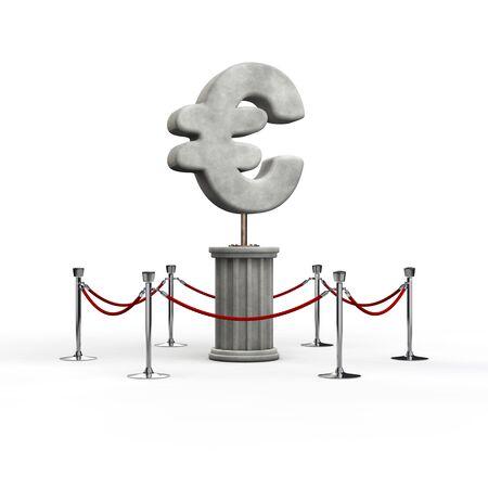 euro symbol: The euro exhibit  3D illustration of euro symbol sculpture