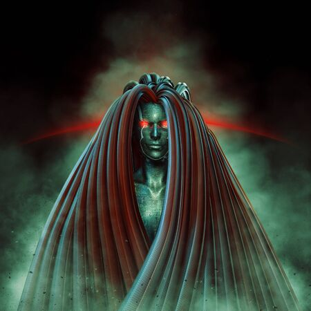 Science fiction Medusa  3D illustration of futuristic female Medusa figure Stock Photo