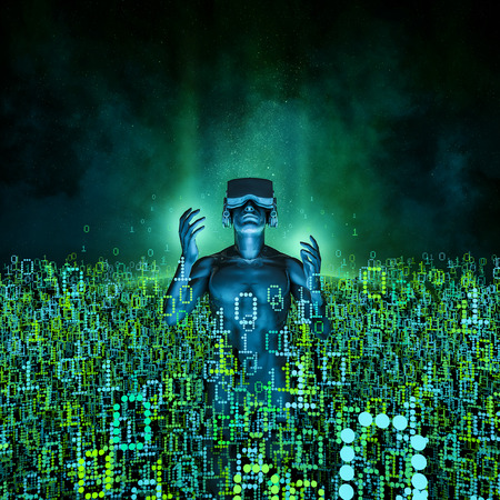 仮想現実の夜明け男のイラストを 3 D バーチャルリアリティ眼鏡バイナリ データに囲まれて 写真素材