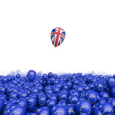Brexit balloon flight  3D illustration of EU balloons and UK flag balloon floating free