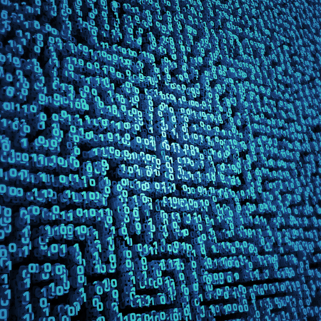 zeroes: Binary data maze  3D illustration binary zeroes and ones forming three dimensional maze