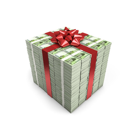 Money gift South Korean won  3D illustration of stacks of South Korean ten thousand won notes tied with ribbon Imagens