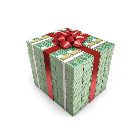 australian dollars: Money gift Australian dollars  3D illustration of stacks of Australian hundred dollar bills tied with ribbon Stock Photo