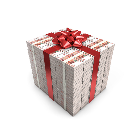 thousand: Money gift Russian rubles  3D illustration of stacks of Russian five thousand ruble notes tied with ribbon