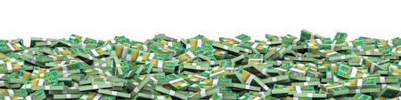 australian money: Panorama stacks Australian dollars  3D illustration of panoramic stacks of Australian hundred dollar bills Stock Photo