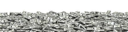 hundred dollar bill: Panorama stacks dollars  3D illustration of panoramic stacks of hundred dollar bills